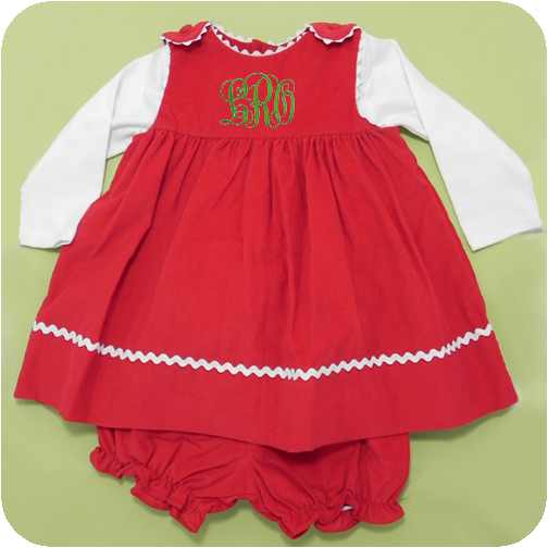 Red corduroy jumper amp bloomers set