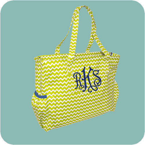 Diaper Bag Lime Green Chevron
