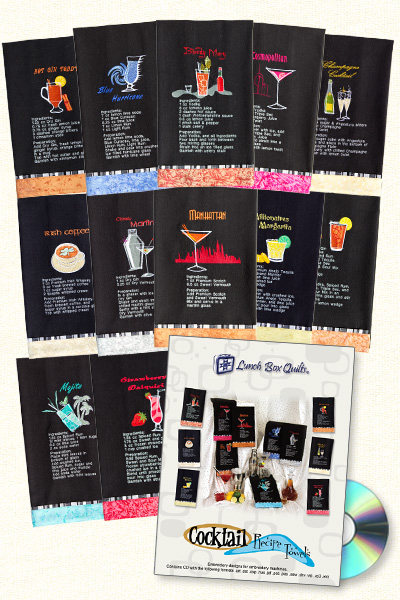 cocktail recipe machine embroidery designs