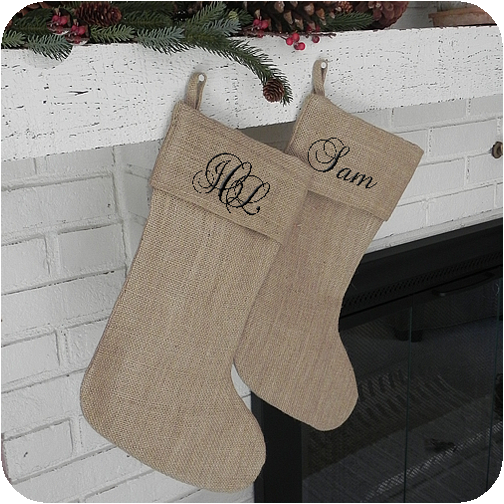 Burlap Christmas Stockings.Burlap Christmas Stocking