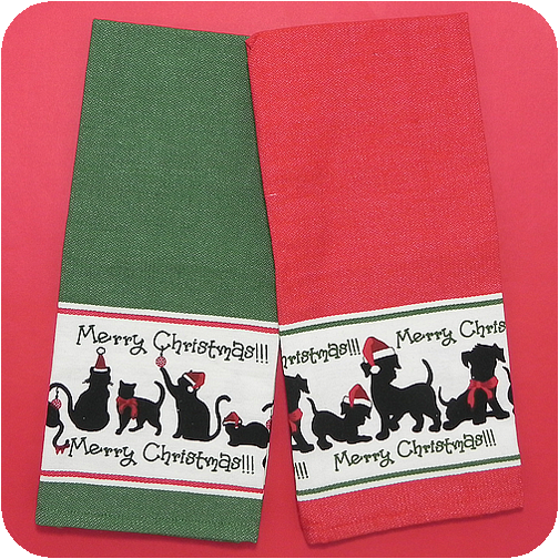 Dogs Cats Christmas Kitchen Towels