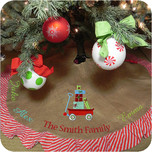 burlap tree skirt with red striped ruffle - Burlap Christmas Tree Skirt