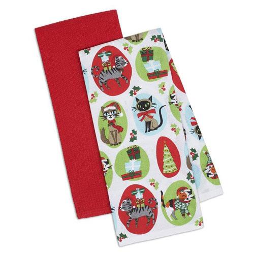 Kitchen Towels Xmas: Christmas Kitty Kitchen Towel Set