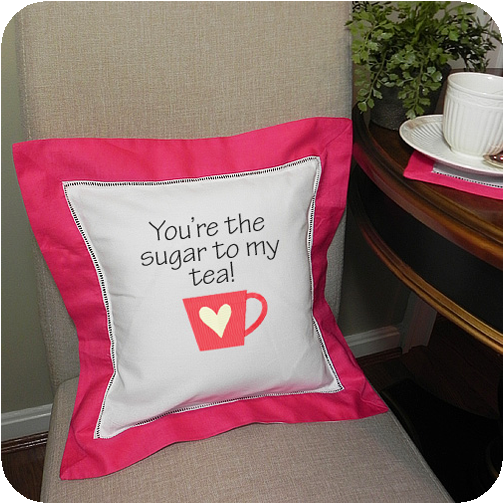 hot pink border 12x12 hemstitched pillow sham