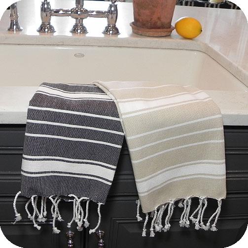 Fringe Stripe Fouta Kitchen Towel