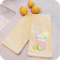 Lemon Yellow Mini Check Kitchen Towel