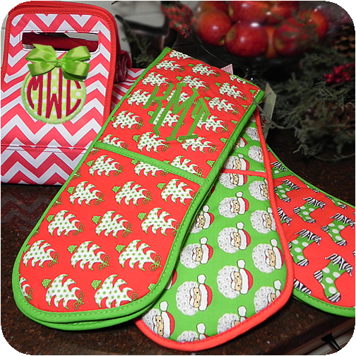 christmas double oven mitts