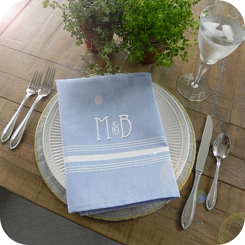 Farmhouse Chambray Blue Stripe Restaurant Napkin
