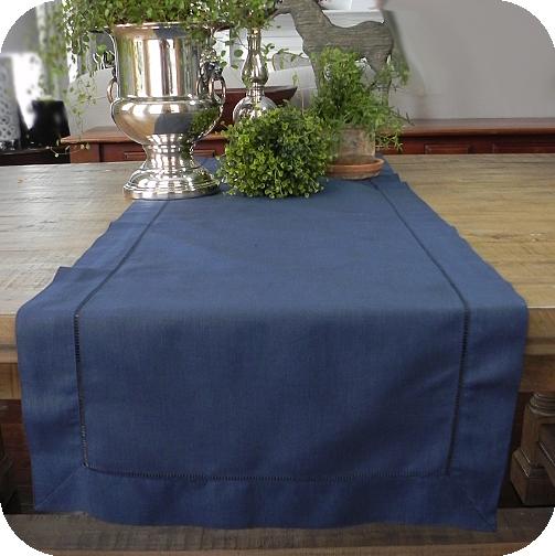 Navy Solid Hemsched Linen Tablerunner