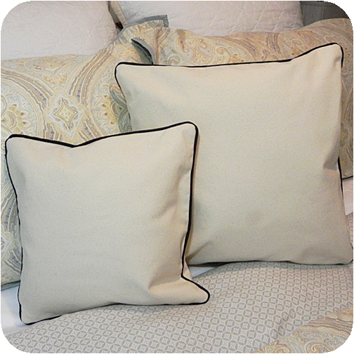 Canvas Pillow Cover With Navy Trim