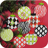 Flat Metal Whimsy Christmas Ornaments